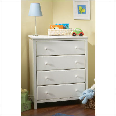 South Shore Cotton Candy Transitional Pure White 4 Drawer Chest Best Price