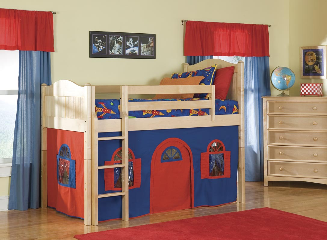 Bolton Furniture Cottage Boys Twin Size Low Loft with Optional Tent Tower and Slide Best Price