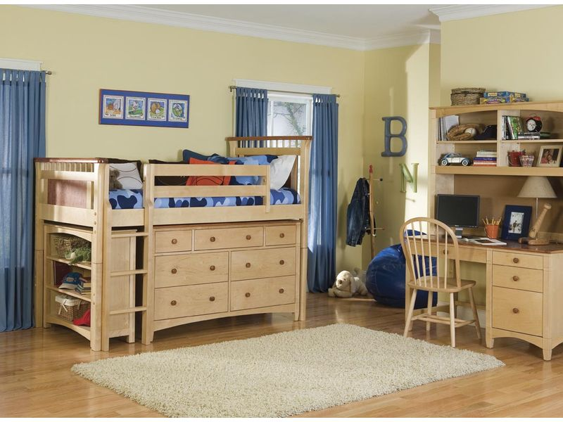 Bolton Furniture Bennington Twin Size Low Loft with Essex Drawers and Bookcase Set - Natural/Rosewood or Honey! Best Price