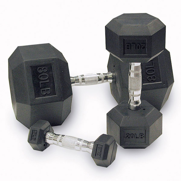 Body-Solid Rubber Hex Dumbbell Set 5 to 50 lbs Pairs