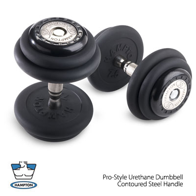 Hampton Fitness 10 Pair Pro-Style Dumbbell Set (5 to 50 lbs) with Rack