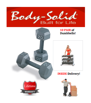 Body-Solid Grey Hex Dumbbell Set 5 to 50 lbs - with INSIDE Delivery!