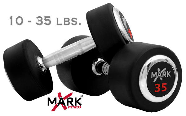 X Mark Fitness 10 lb to 35 lb Rubber Round Dumbbell Set