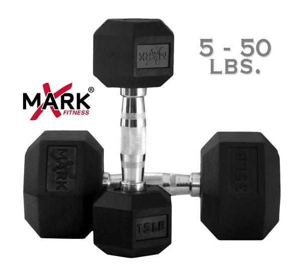 X Mark Fitness 5 lb to 50 lb Rubber Hex Dumbbell Set