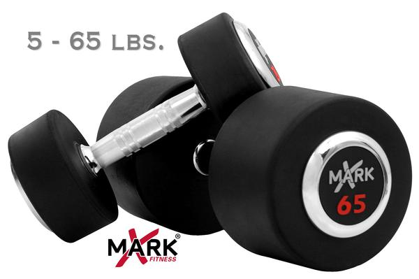 X Mark Fitness 5 lb to 65 lb Rubber Round Dumbbell Set