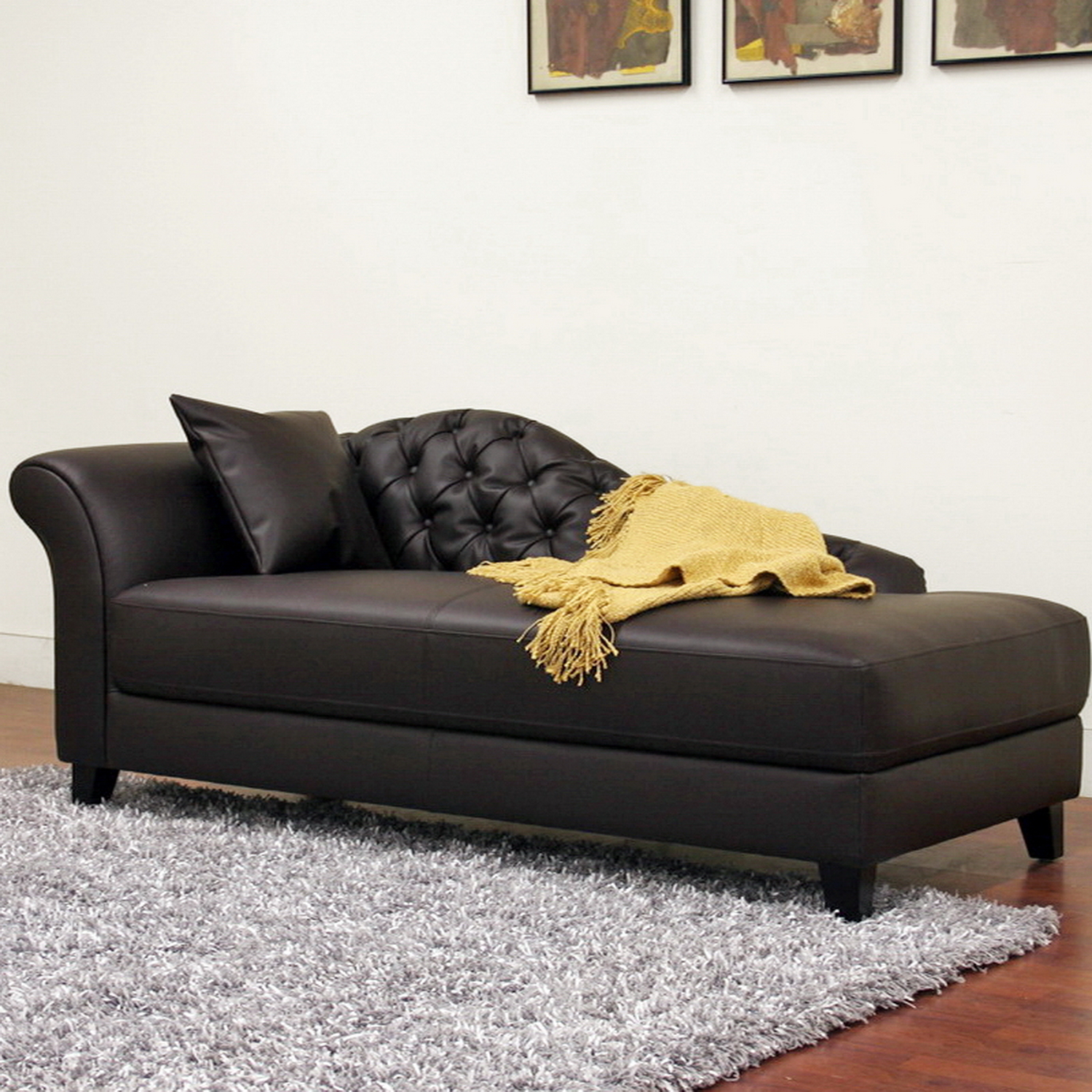 Furniture living room furniture chaise lounge black for Chaise lounge black leather