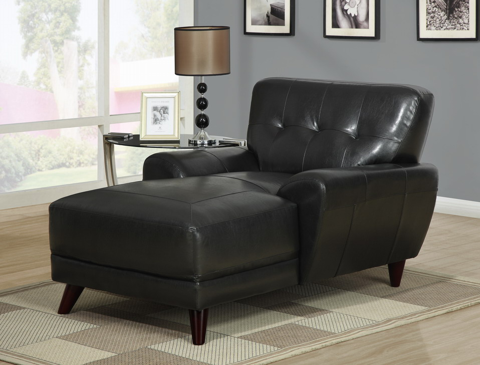 Furniture living room furniture lounger black for Chaise lounge black leather