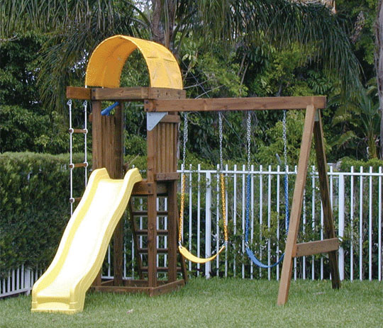 Swing sets on pinterest small yards wooden swings and for Small wooden swing sets