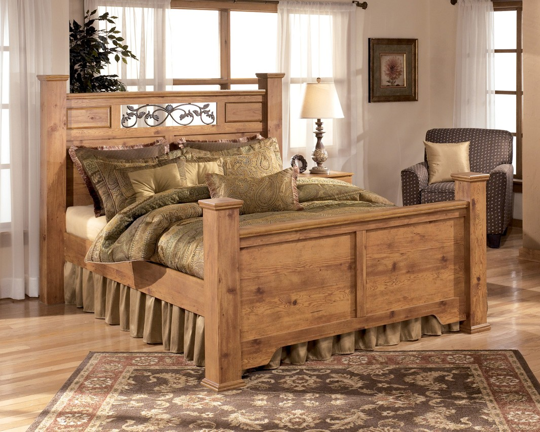 Furniture Bedroom Furniture Bed Set Pine Signature