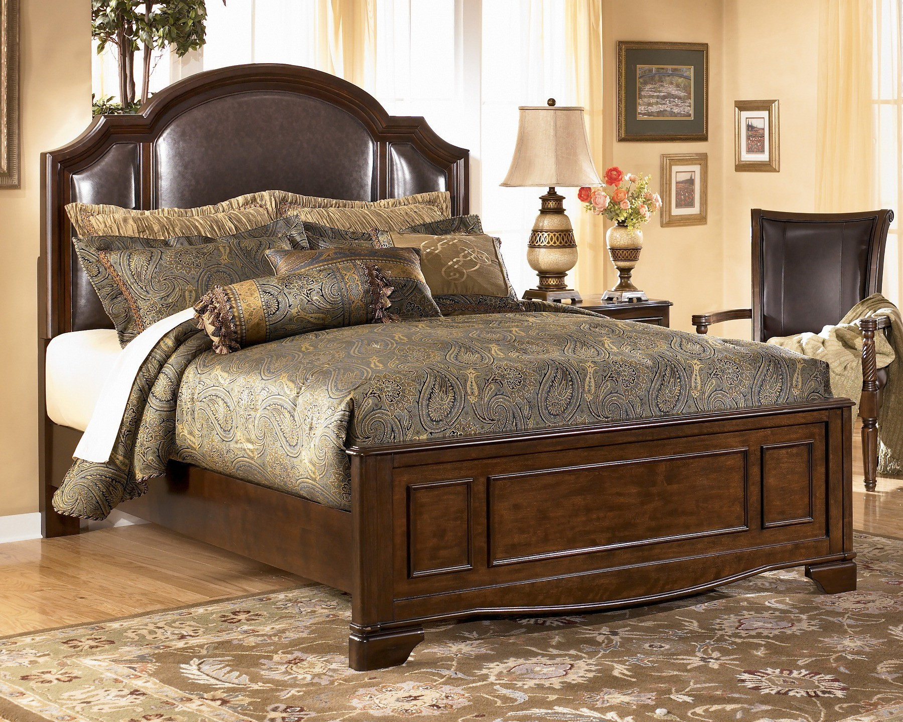 Furniture Bedroom Furniture Panel Bed Upholstered Leather Panel Bed