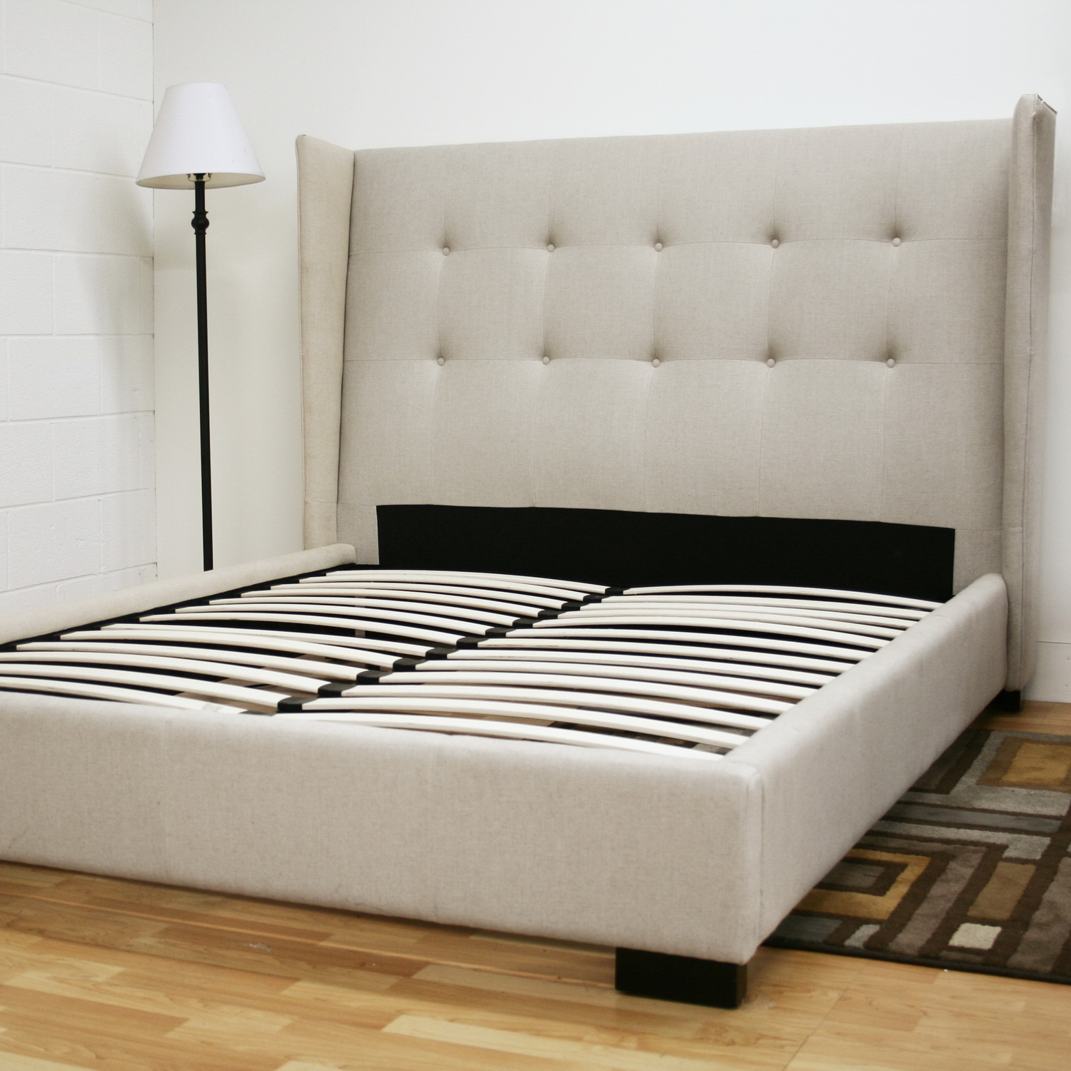 Diy platform bed with upholstered headboard quick for Upholstered beds