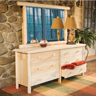 Magnificient-cedar-light-rustic-style-dresser-with-mirror-made-from-natural-wood-for-bedroom