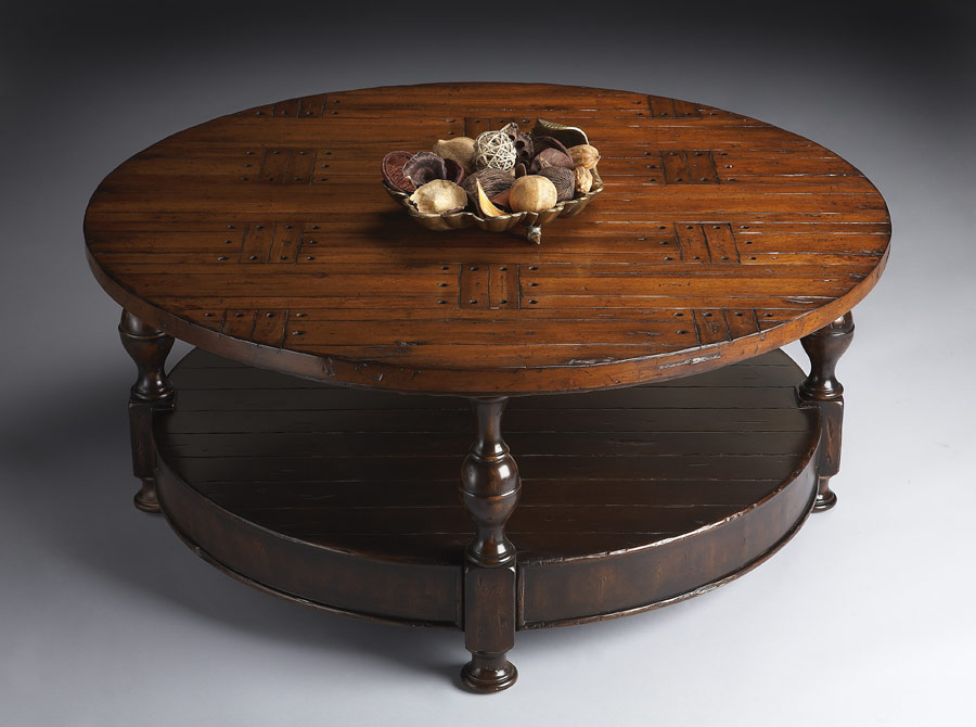 Distressed Round Cocktail Table