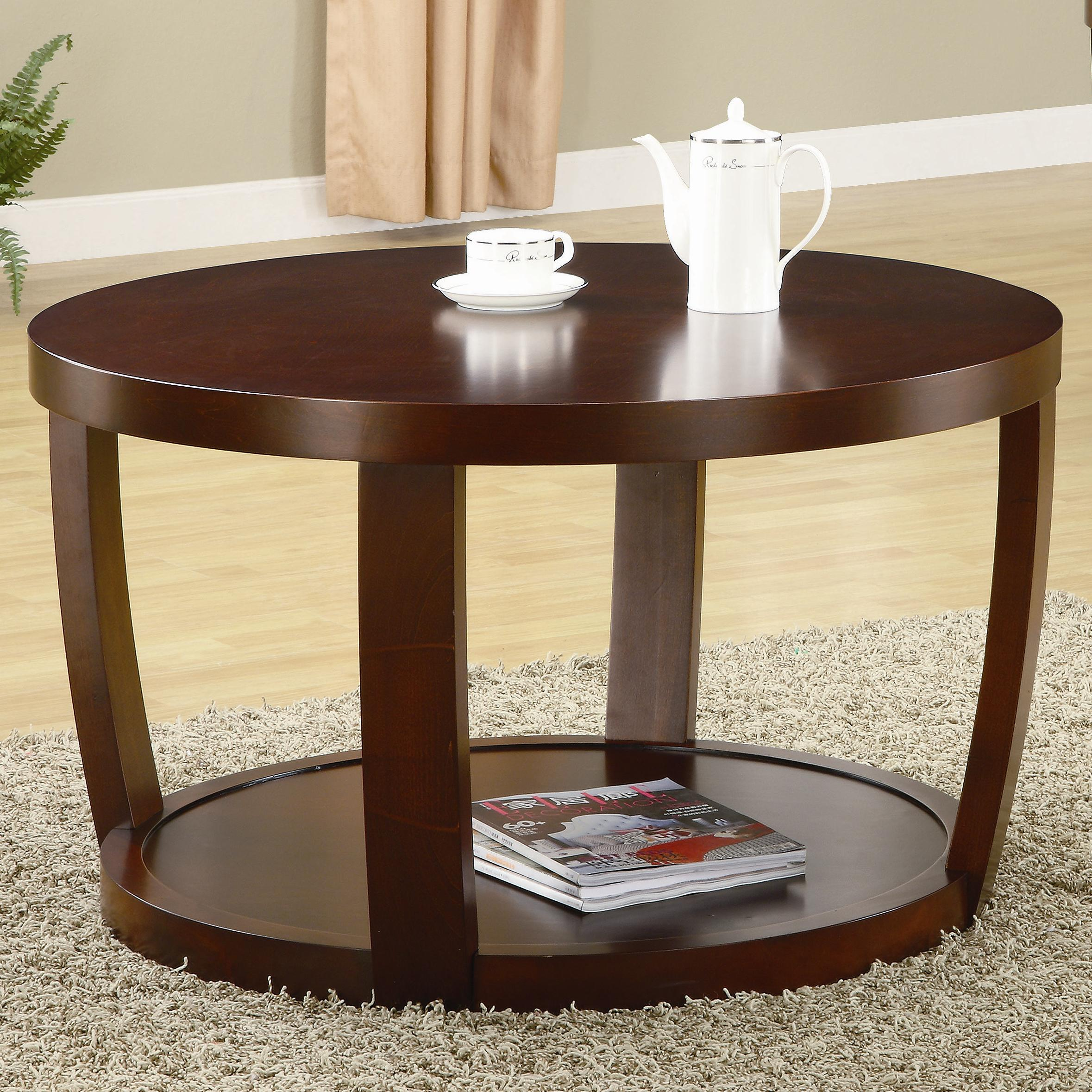 Furniture Living Room Furniture Coffee Table Round Cherry Finished Coffee Table