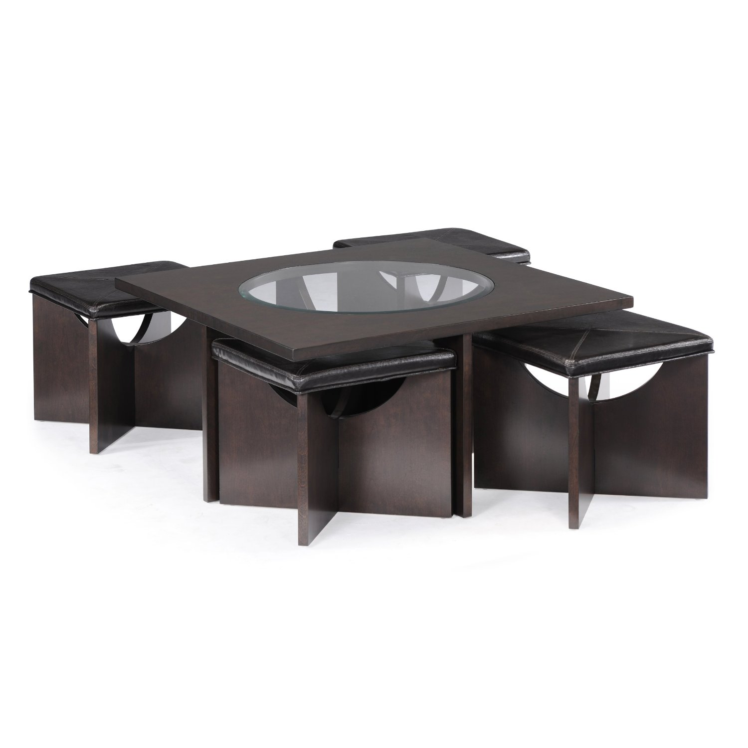 533 magnussen ozino wood and glass square cocktail table with 4 s 866 594 6890 - Glass coffee table with stools underneath ...
