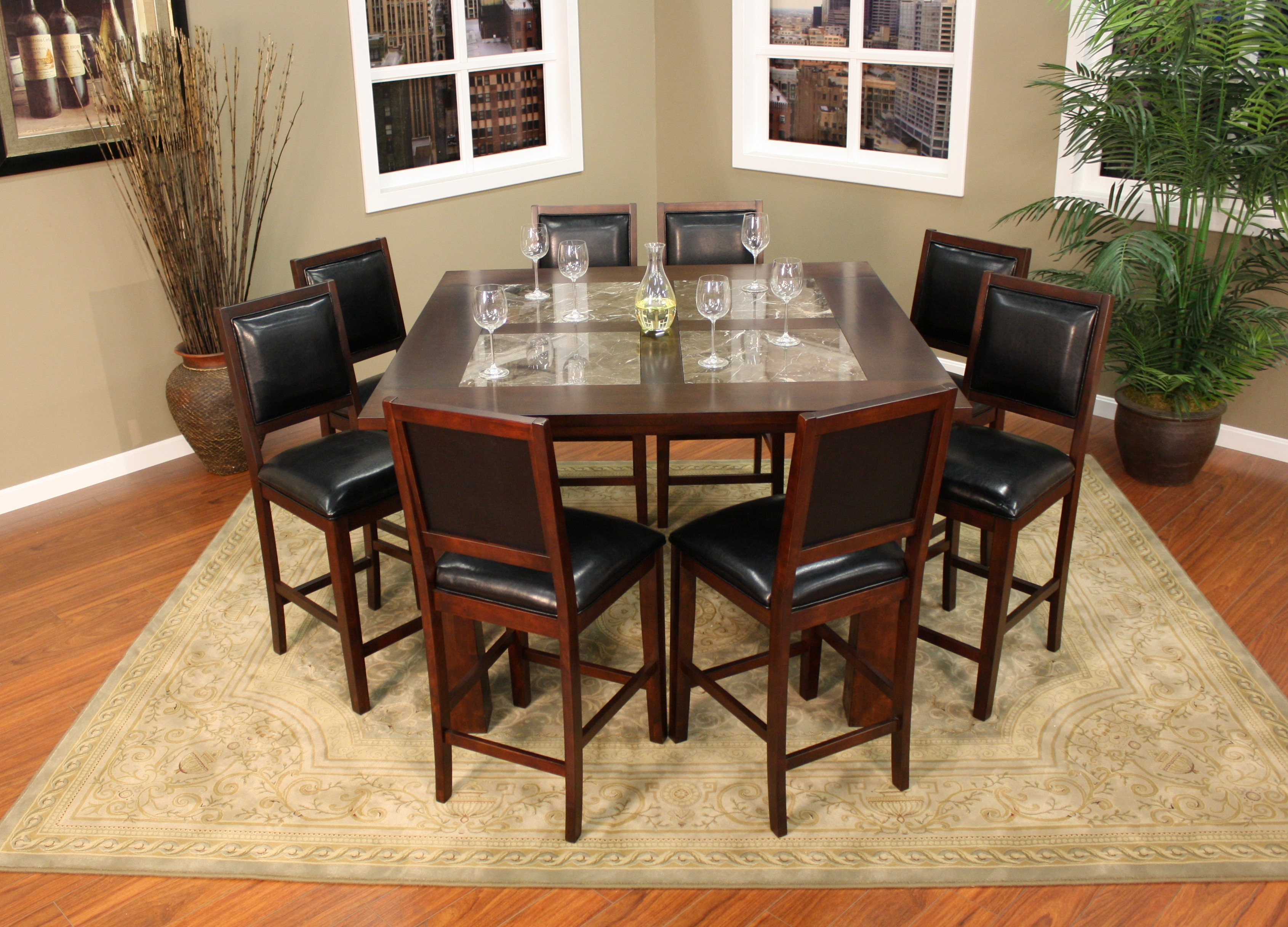 Furniture dining room furniture counter square inlay for Square dinette sets