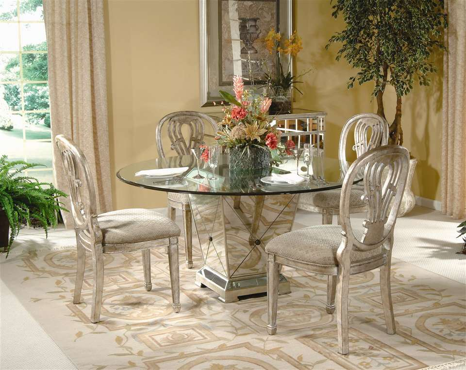 Antique mirrored dining table with 4 silver dining chairs dining set 0