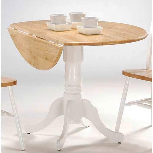 Concepts 42 Inch Natural And White Round Dual Drop Leaf Dining Table