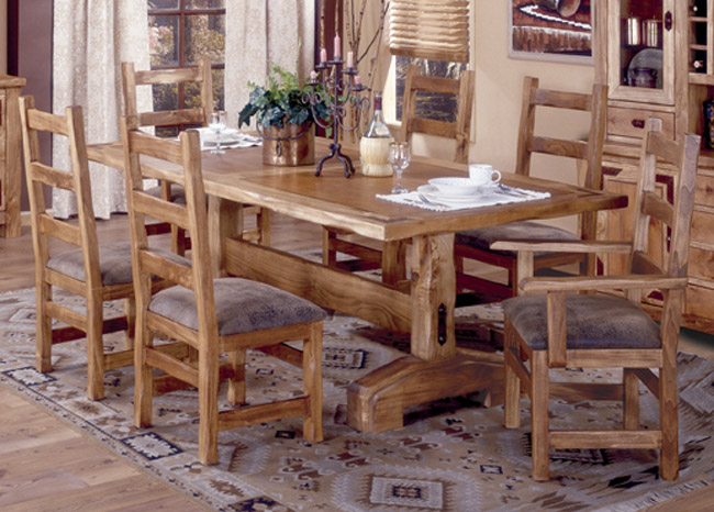 Furniture dining room furniture table dining trestle for World concepts lodge furniture