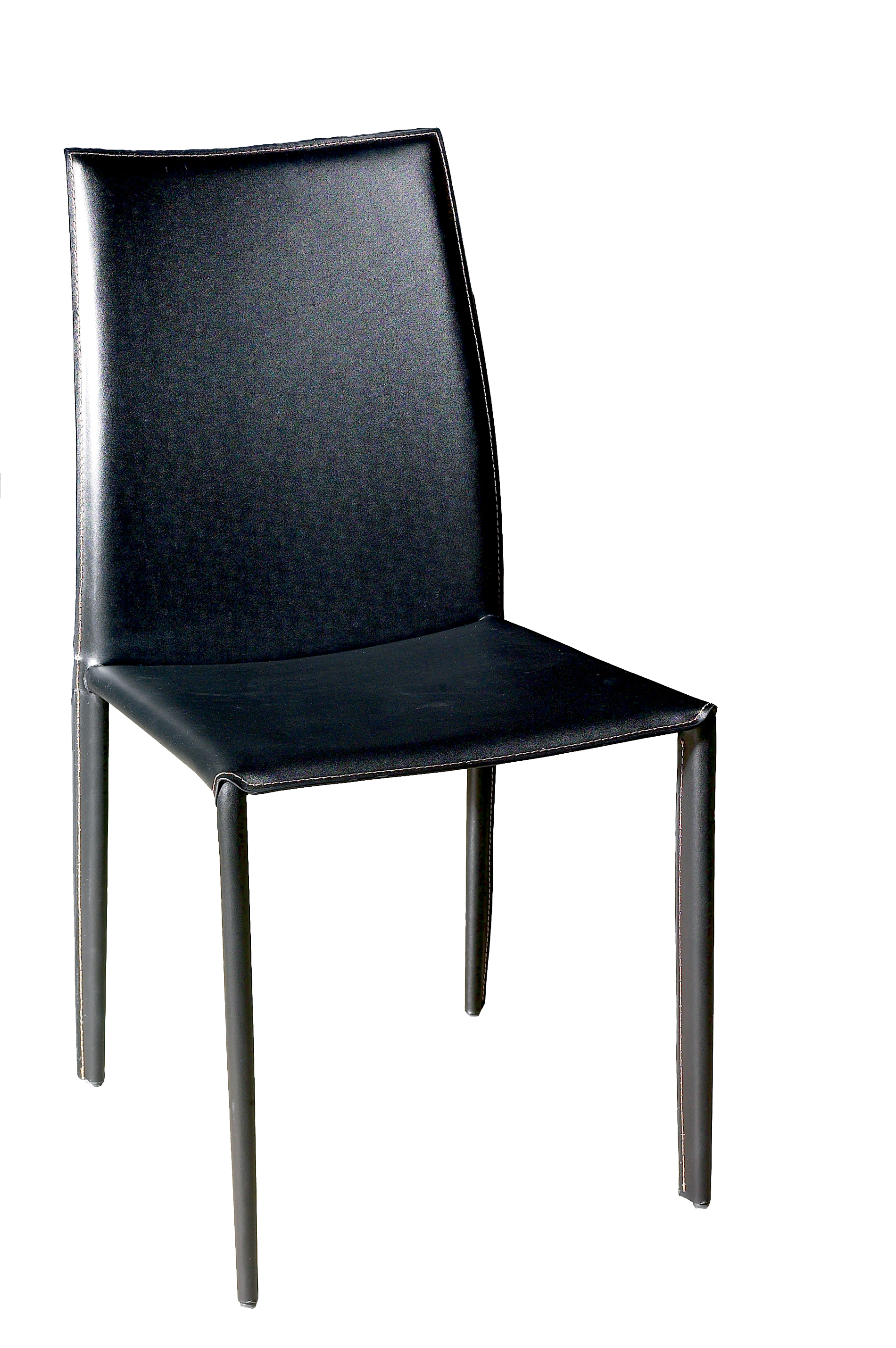 Coaster Leather Dining Chairs, Black-Bonded, Silver Metal Finish