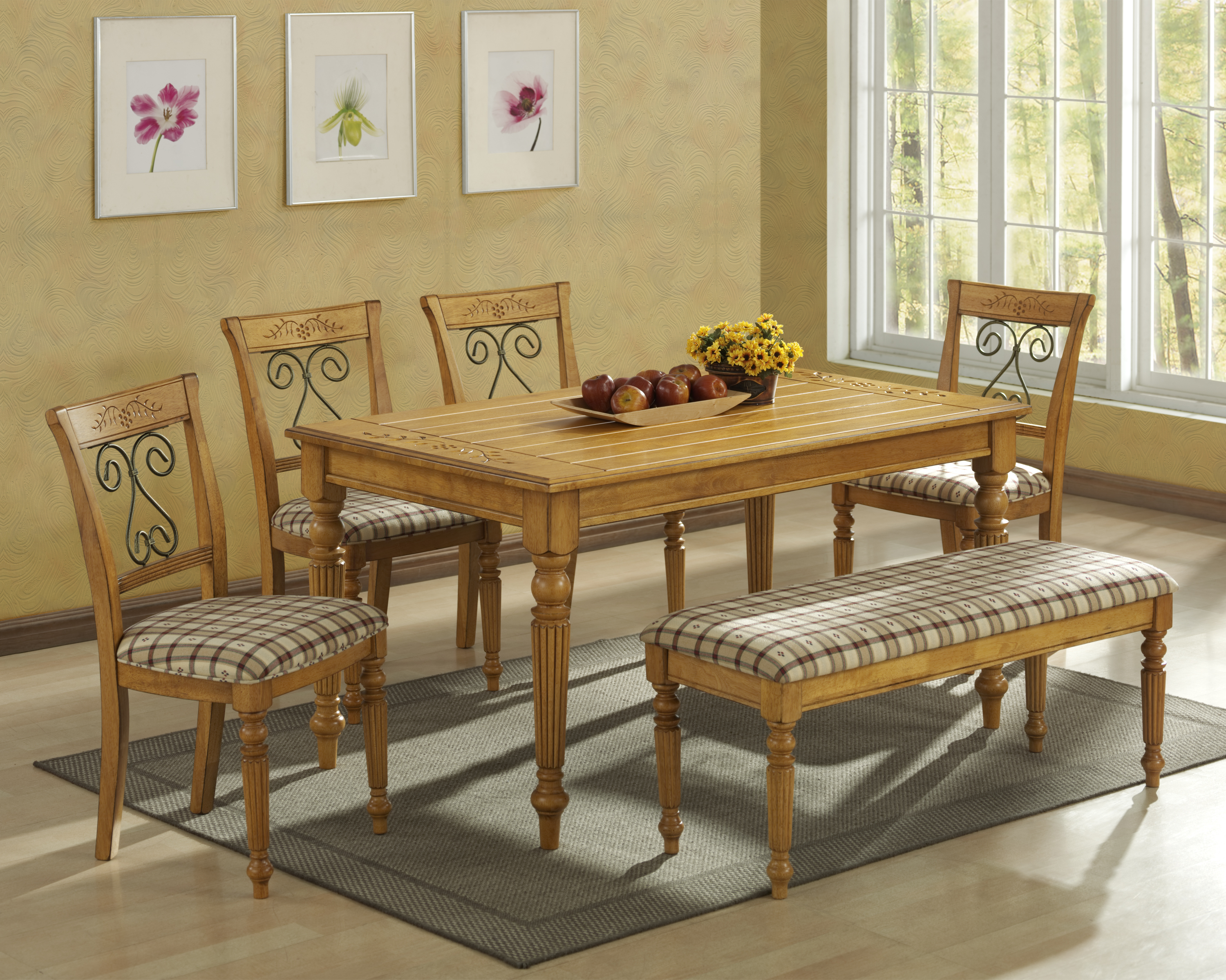 Furniture of America Bernette 5Piece Round Dining Table