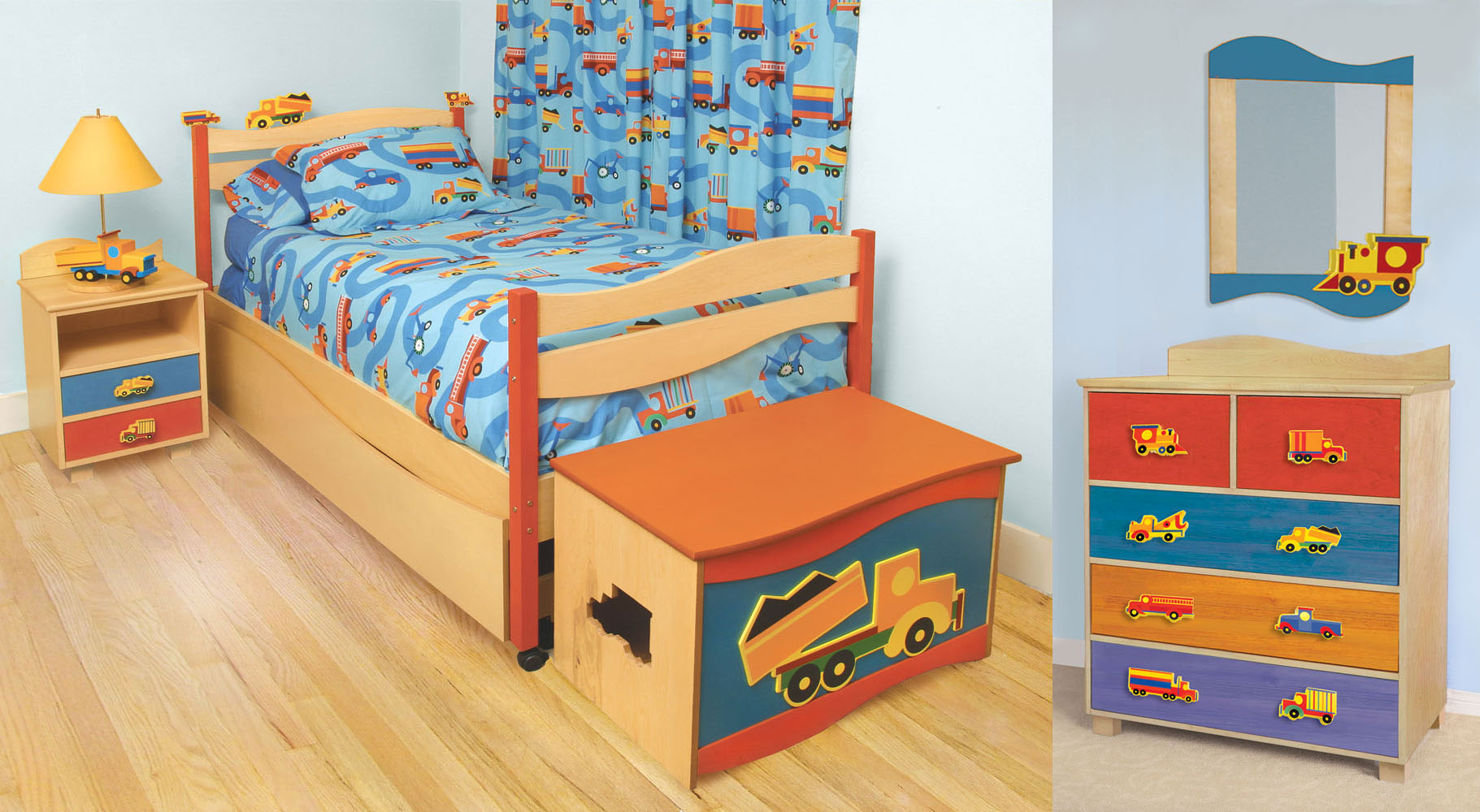 1 411 room magic boys like trucks bedroom set kids bed for Kids bedroom furniture sets