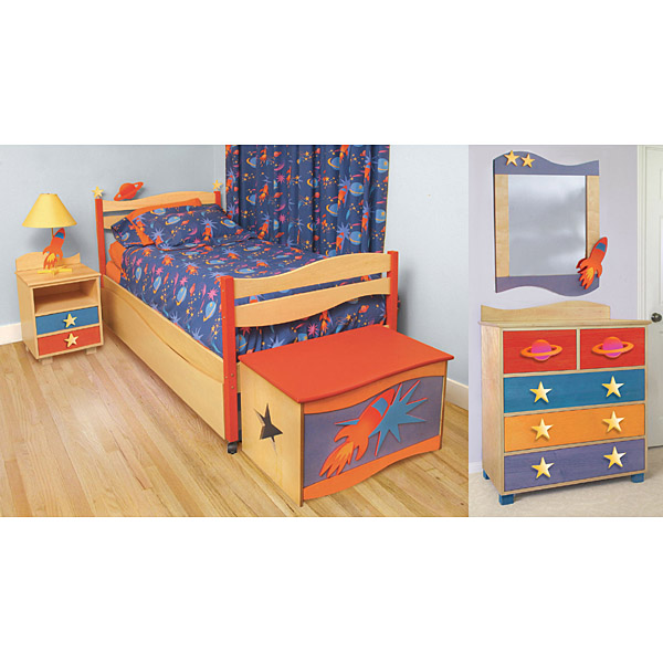 Furniture kids furniture comforter star rocket comforter for Childrens rocket bed