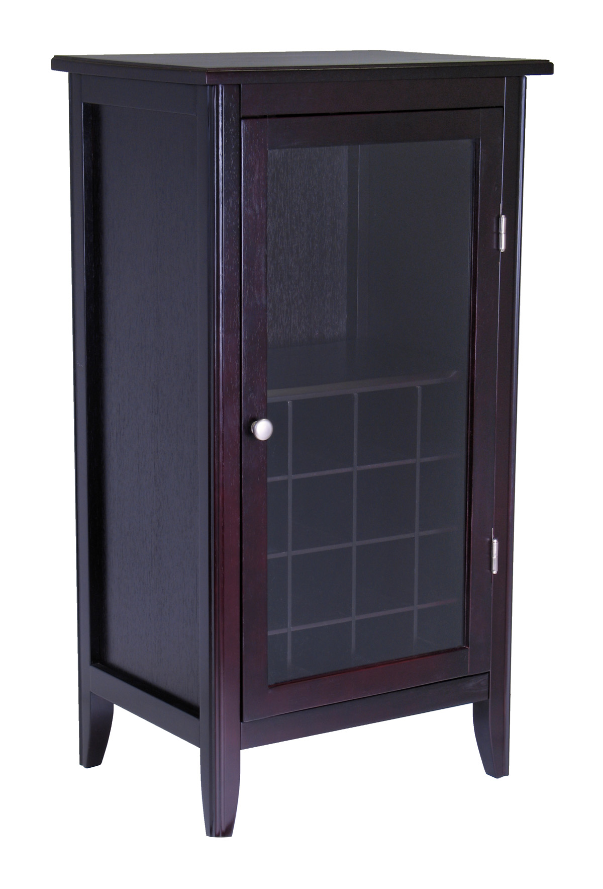 Winsome ryan wine cabinet 16 bottle one door glass rack Glass cabinet doors