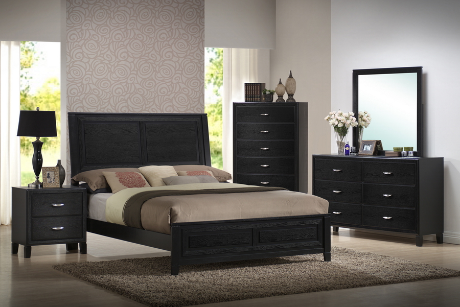 1 299 baxton studio eaton black wood 5 piece queen modern for Modern bedroom sets