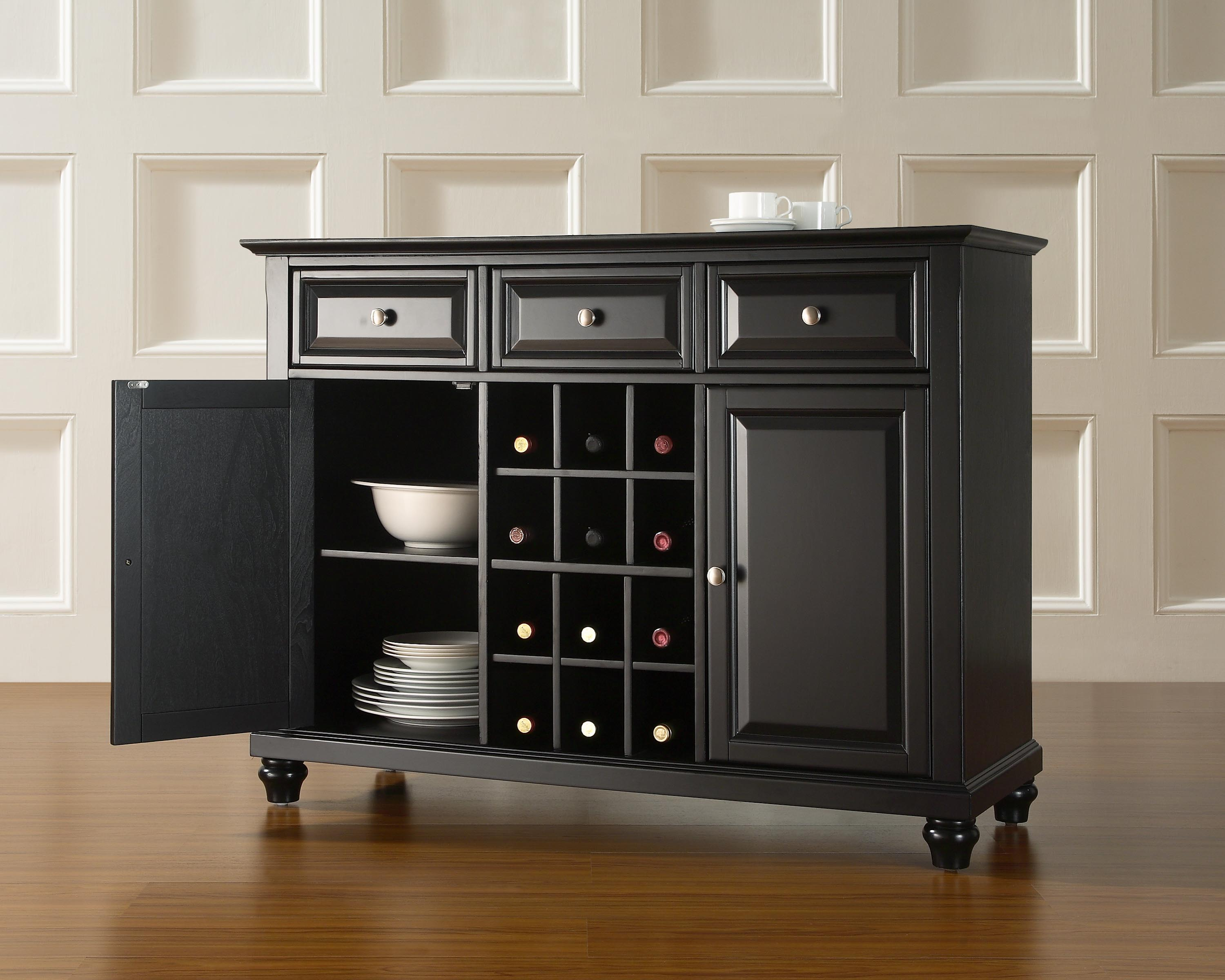 399 CROSLEY FURNITURE CAMBRIDGE BUFFET SERVER IN BLACK FINISH 866 594 6890