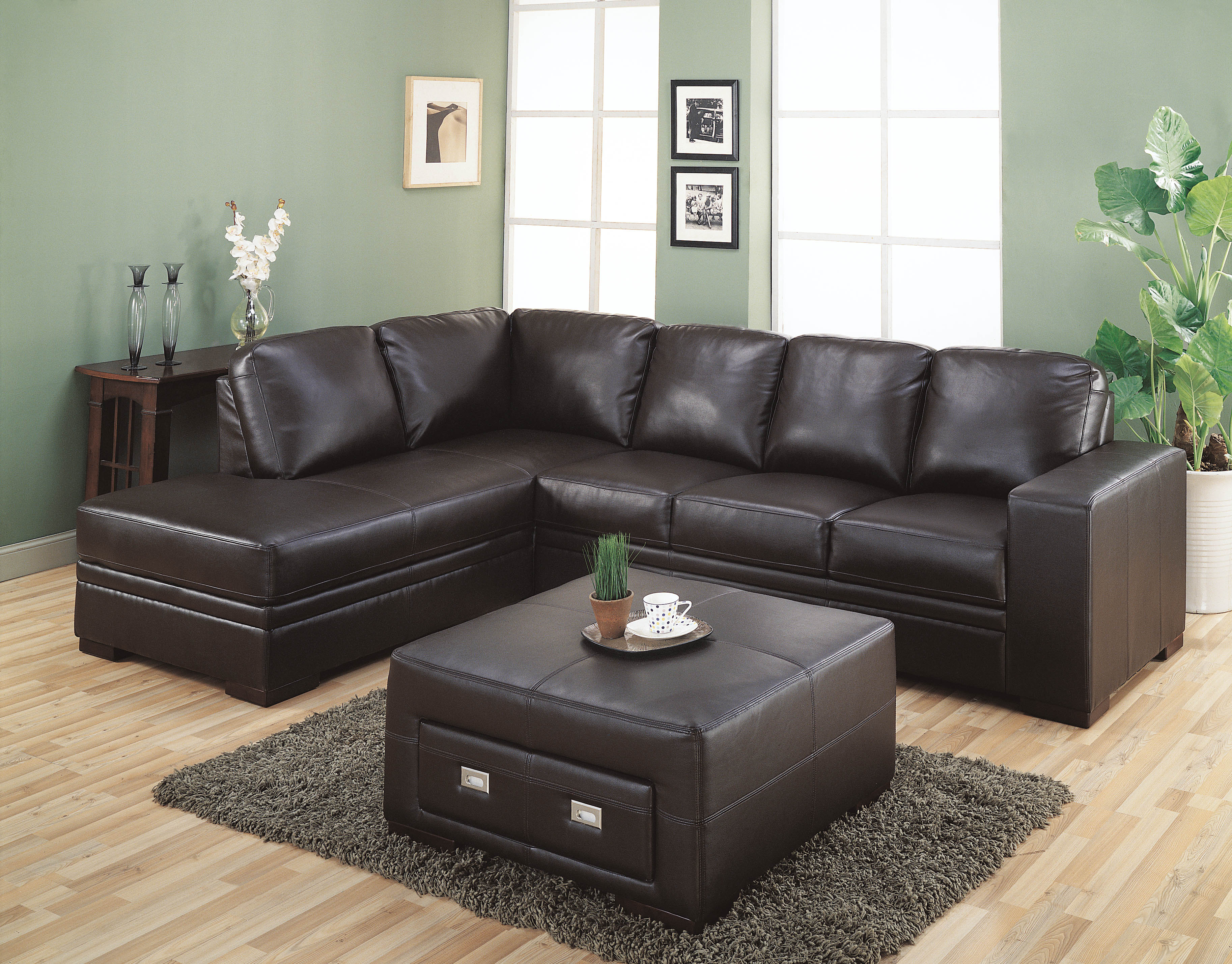 Furniture gt Living Room Sectional Sofa Chocolate Leather