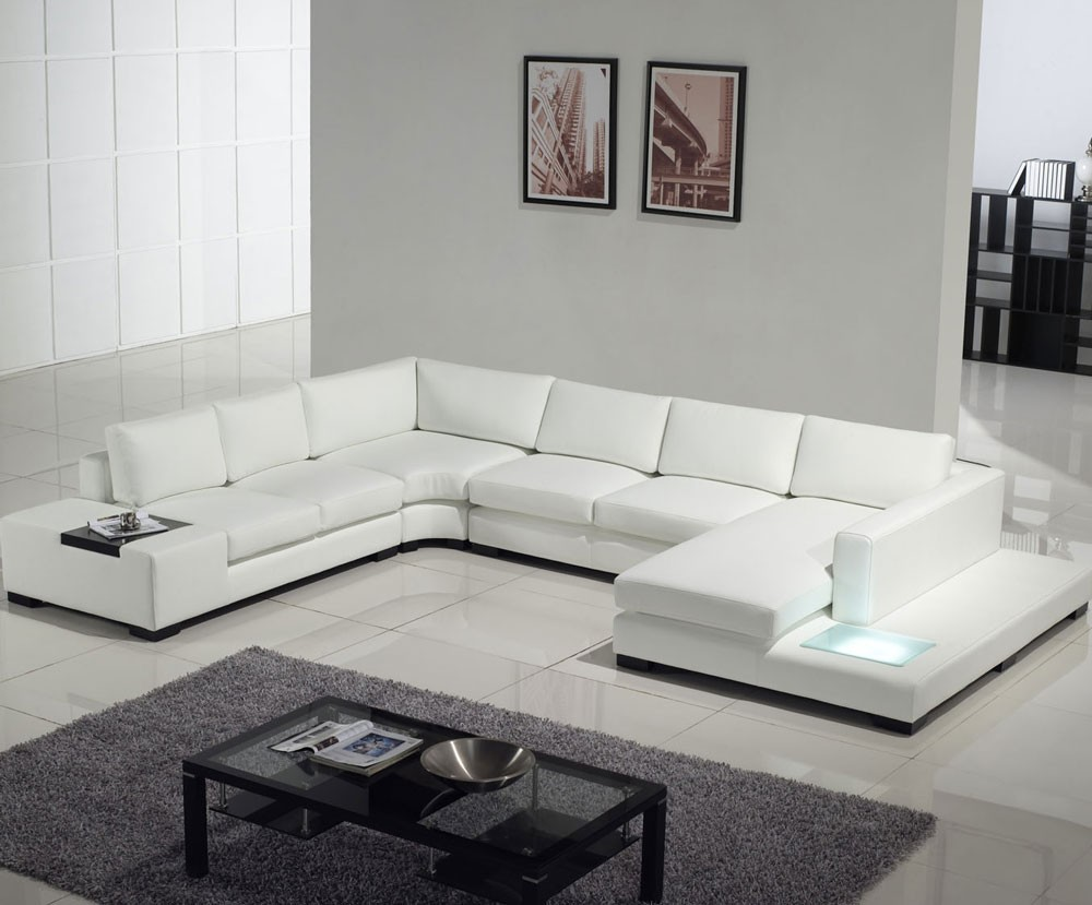 2 309 tosh furniture modern white leather sectional sofa for Contemporary living room furniture sets