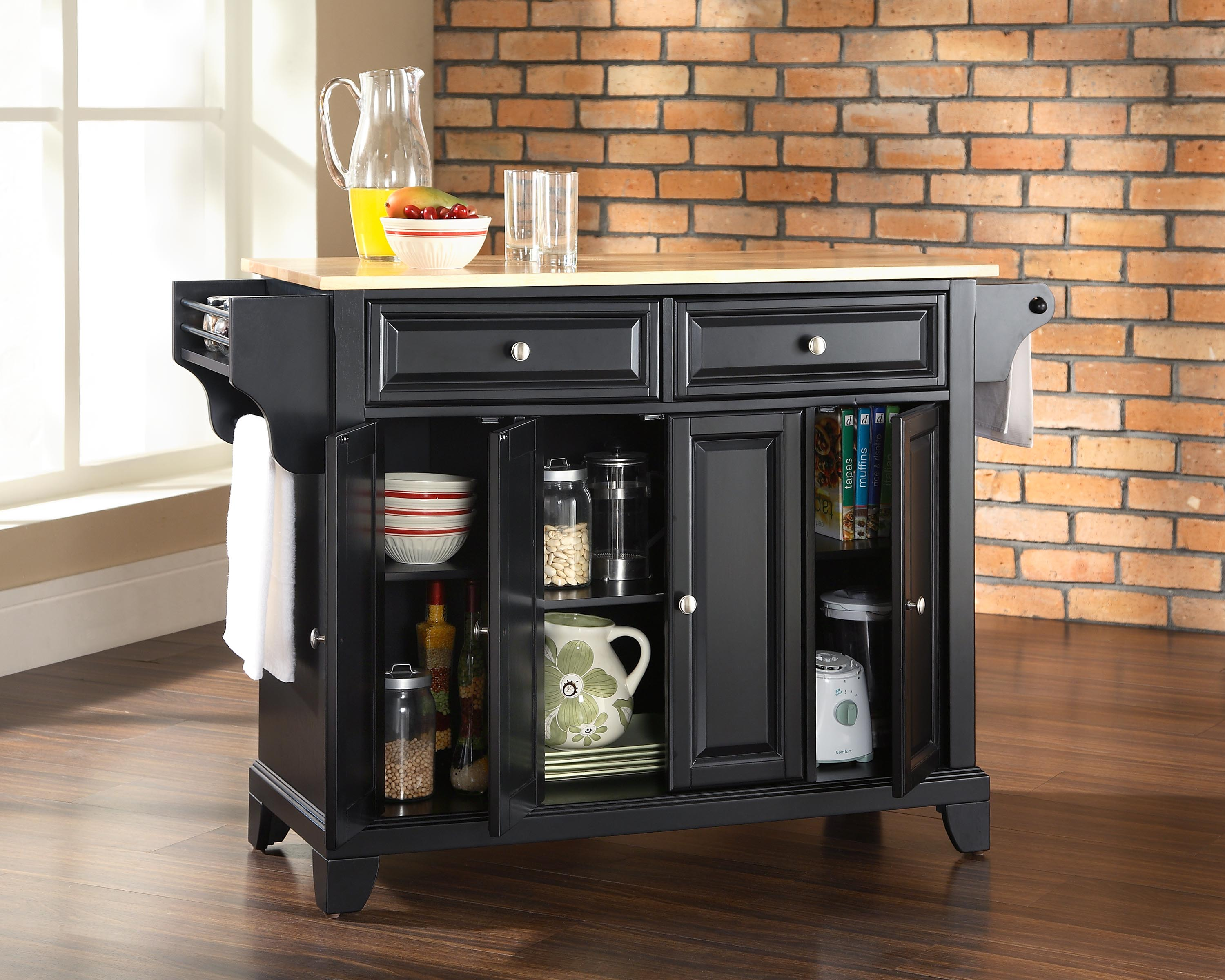 Crosley Furniture Newport Natural Wood Top Kitchen Island in Black ...