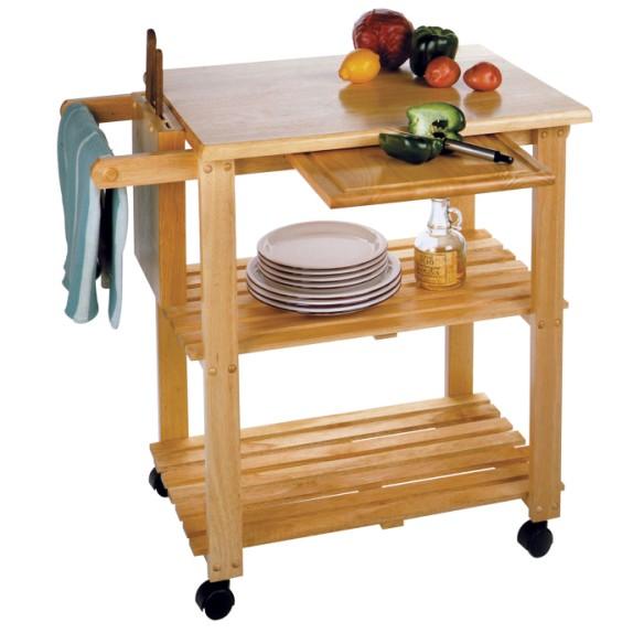 chrome kitchen cart large wheels