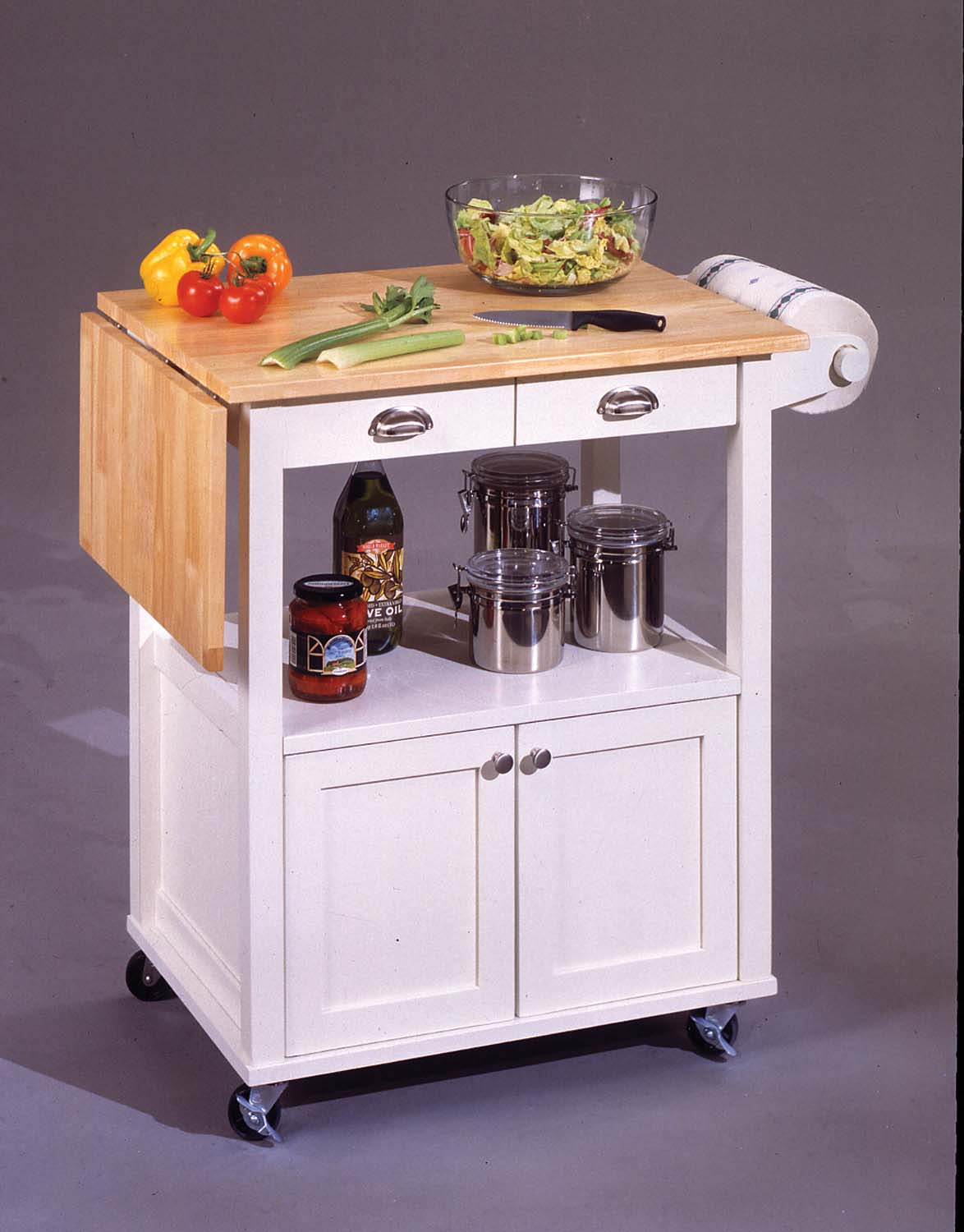 Kitchen cart island breakfast bar with drop leaf top maple