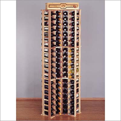 Wine Cellar Innovations Country Pine Curved Corner for 84 Individual Bottles